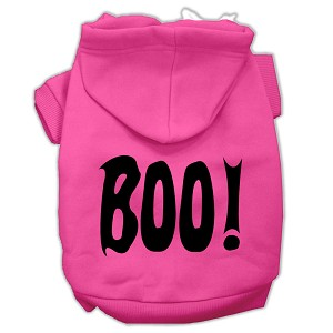 BOO! Screen Print Pet Hoodies Bright Pink Size Med (12)