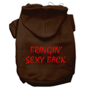Bringin' Sexy Back Screen Print Pet Hoodies Brown Size XXL (18)