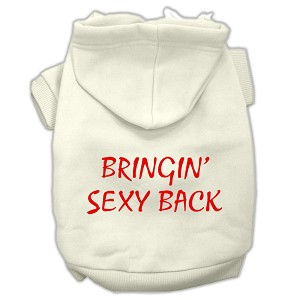Bringin' Sexy Back Screen Print Pet Hoodies Cream Size Med (12)