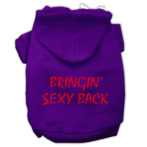 Bringin' Sexy Back Screen Print Pet Hoodies Purple Size XXL (18)