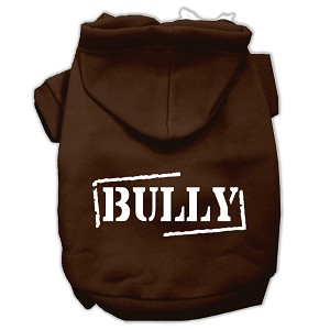 Bully Screen Printed Pet Hoodies Brown Size Med (12)