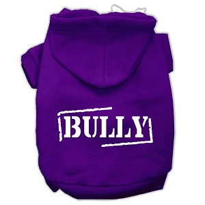 Bully Screen Printed Pet Hoodies Purple Size XS (8)