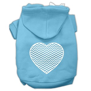 Chevron Heart Screen Print Dog Pet Hoodies Baby Blue Size XL (16)
