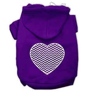 Chevron Heart Screen Print Dog Pet Hoodies Purple Size XXXL (20)
