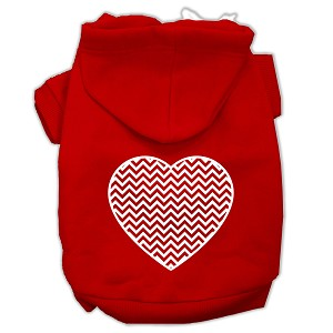 Chevron Heart Screen Print Dog Pet Hoodies Red Size Sm (10)
