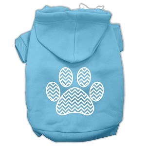Chevron Paw Screen Print Pet Hoodies Baby Blue Size XS (8)