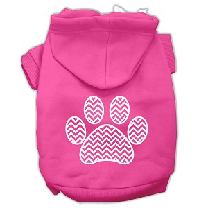 Chevron Paw Screen Print Pet Hoodies Bright Pink Size Med (12)