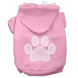 Chevron Paw Screen Print Pet Hoodies Light Pink Size XS (8)