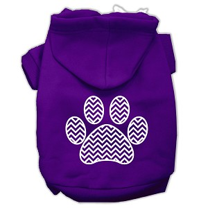 Chevron Paw Screen Print Pet Hoodies Purple Size XXL (18)