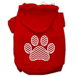 Chevron Paw Screen Print Pet Hoodies Red Size Med (12)