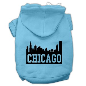 Chicago Skyline Screen Print Pet Hoodies Baby Blue Size Lg (14)