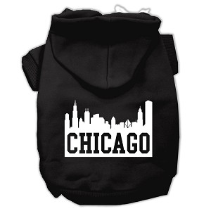 Chicago Skyline Screen Print Pet Hoodies Black Size Lg (14)