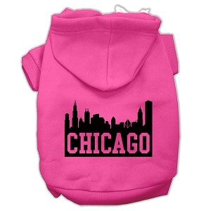 Chicago Skyline Screen Print Pet Hoodies Bright Pink Size XL (16)