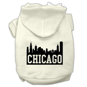 Chicago Skyline Screen Print Pet Hoodies Cream Size Med (12)