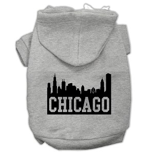 Chicago Skyline Screen Print Pet Hoodies Grey Size Med (12)