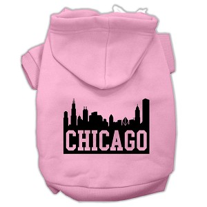 Chicago Skyline Screen Print Pet Hoodies Light Pink Size Med (12)
