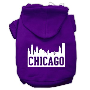 Chicago Skyline Screen Print Pet Hoodies Purple Size Med (12)