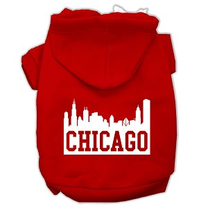 Chicago Skyline Screen Print Pet Hoodies Red Size XXL (18)