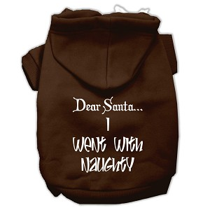 Dear Santa I Went with Naughty Screen Print Pet Hoodies Brown Size Med (12)