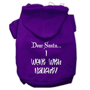 Dear Santa I Went with Naughty Screen Print Pet Hoodies Purple Size XXL (18)