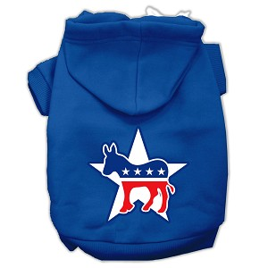 Democrat Screen Print Pet Hoodies Blue Size XS (8)