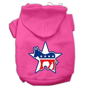 Democrat Screen Print Pet Hoodies Bright Pink Size XS (8)