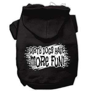 Dirty Dogs Screen Print Pet Hoodies Black Size Lg (14)