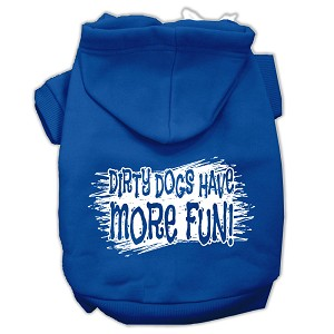 Dirty Dogs Screen Print Pet Hoodies Blue Size Lg (14)