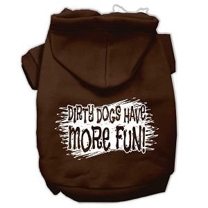 Dirty Dogs Screen Print Pet Hoodies Brown Size XL (16)