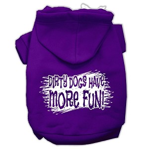 Dirty Dogs Screen Print Pet Hoodies Purple Size Sm (10)