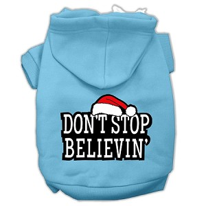 Don't Stop Believin' Screenprint Pet Hoodies Baby Blue Size M (12)