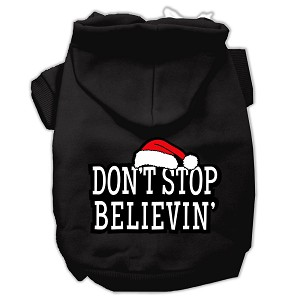 Don't Stop Believin' Screenprint Pet Hoodies Black Size S (10)
