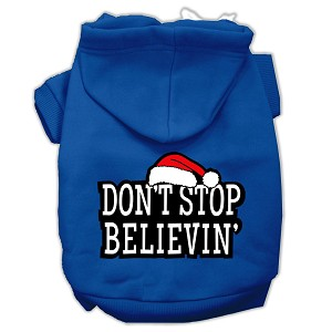 Don't Stop Believin' Screenprint Pet Hoodies Blue Size L (14)