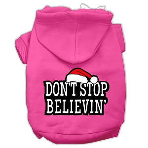 Don't Stop Believin' Screenprint Pet Hoodies Bright Pink Size XL (16)