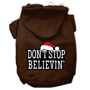 Don't Stop Believin' Screenprint Pet Hoodies Brown Size M (12)