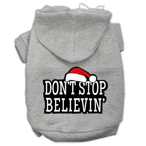 Don't Stop Believin' Screenprint Pet Hoodies Grey Size S (10)