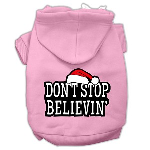 Don't Stop Believin' Screenprint Pet Hoodies Light Pink Size M (12)