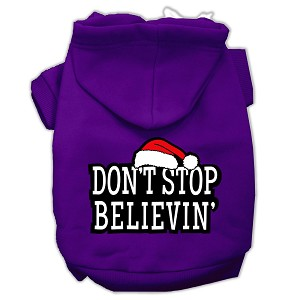 Don't Stop Believin' Screenprint Pet Hoodies Purple Size M (12)