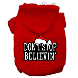 Don't Stop Believin' Screenprint Pet Hoodies Red Size XL (16)
