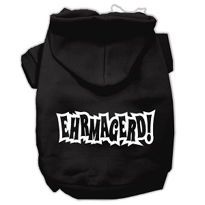 Ehrmagerd Screen Print Pet Hoodies Black Size Lg (14)