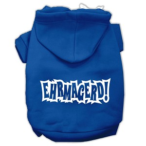 Ehrmagerd Screen Print Pet Hoodies Blue Size Med (12)