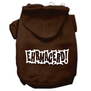 Ehrmagerd Screen Print Pet Hoodies Brown Size Lg (14)