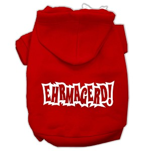 Ehrmagerd Screen Print Pet Hoodies Red Size Sm (10)