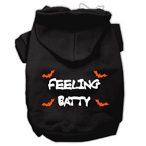 Feeling Batty Screen Print Pet Hoodies Black Size Sm (10)