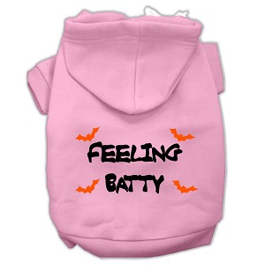 Feeling Batty Screen Print Pet Hoodies Light Pink Size Lg (14)