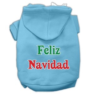 Feliz Navidad Screen Print Pet Hoodies Baby Blue XXL (18)