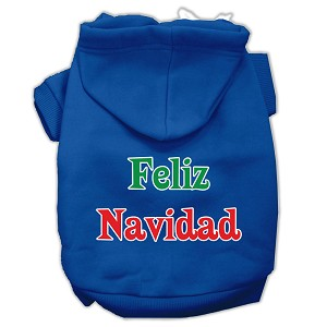 Feliz Navidad Screen Print Pet Hoodies Blue XL (16)