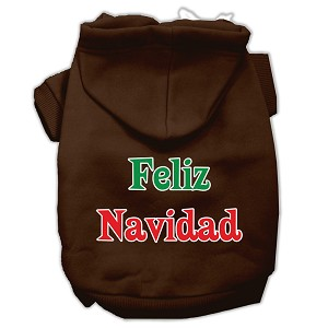 Feliz Navidad Screen Print Pet Hoodies Brown L (14)