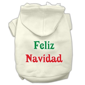 Feliz Navidad Screen Print Pet Hoodies Cream Size XXXL(20)