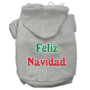 Feliz Navidad Screen Print Pet Hoodies Grey XS (8)